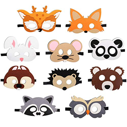 JAHEMU Masques Animaux Halloween Masque Forêt Animal Feutre