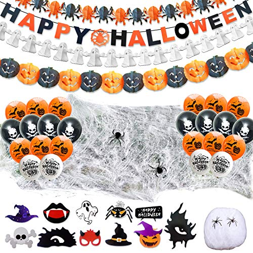 LISOPO 48pcs Decoration Halloween XXL Ensemble Deco Hallowee
